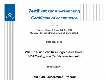 Certificate Hensel test laboratory