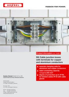 DK Cable junction boxes with terminals for copper and aluminium conductors