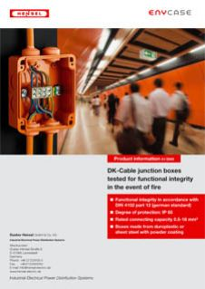 DK Cable junction boxes tested for functional integrity in the event of fire